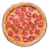 Итальянская пицца, взгляд сверху, изолированное на белой изолированной предпосылке Стоковое Фото