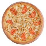 Итальянская пицца, взгляд сверху, изолированное на белой изолированной предпосылке Стоковые Фотографии RF
