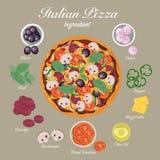 Итальянская пицца с ингридиентами Стоковая Фотография