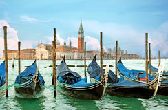 Итальянские гондолы, Венеция, Италия Стоковая Фотография RF