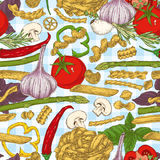 Итальянские макаронные изделия и овощи картина безшовная Стоковая Фотография RF