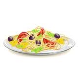 Итальянские макаронные изделия на плите Стоковая Фотография