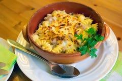 Итальянские макаронные изделия с соусом и сыр пармесаном Стоковые Фотографии RF