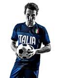 Итальянские портреты силуэта человека футболиста Стоковое фото RF