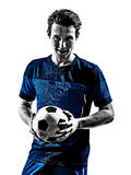 Итальянские портреты силуэта человека футболиста Стоковые Фотографии RF