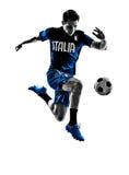 Итальянские силуэты человека футболистов Стоковая Фотография