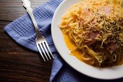 Итальянские спагетти - carbonara Стоковые Изображения
