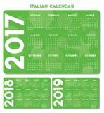 Итальянский вектор календаря 2017-2018-2019 Стоковая Фотография