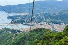 Итальянский вид на море Rapallo курорта Стоковое Изображение