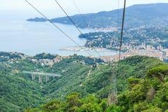 Итальянский вид на море Rapallo курорта Стоковые Изображения RF