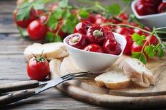 Итальянский горячий заполненный перец с каперсами и тунцом Стоковая Фотография RF