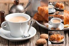 Итальянский завтрак - коллаж стоковые изображения rf