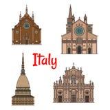 Итальянский комплект значка здания ориентир ориентира перемещения иллюстрация вектора