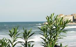 Итальянский красивый пляж в Сицилии, туристском месте, временени Стоковые Изображения RF
