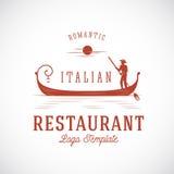 Итальянский логотип концепции вектора конспекта ресторана Стоковые Фото