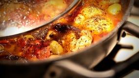 Итальянский популярный рецепт: & x22; cacciatora& x22 alla; Морской черт Стоковое Фото