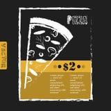 Итальянский плакат пиццы на черной доске Стоковое фото RF
