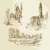 Итальянский сельский ландшафт иллюстрация штока