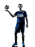 Итальянский силуэт человека футболиста Стоковое Изображение
