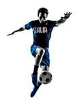 Итальянский силуэт человека футболиста Стоковые Фотографии RF
