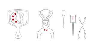 Итальянский стиль эскиза элементов дизайна ресторана Стоковые Фото