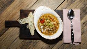 Итальянский суп на подносе Стоковые Изображения RF