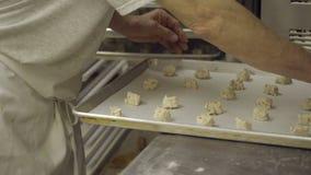 Итальянский хлебопек подготавливает тесто печенья на подносе акции видеоматериалы