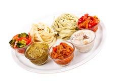 2 итальянских tagliatelles и 5 различных Стоковые Изображения