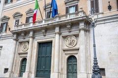 Итальянское здание парламента на Montecitore в центре Рима Италии Стоковые Изображения