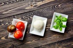 Итальянское caprese, моццарелла, томаты, базилик Стоковая Фотография RF