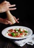 Итальянское caprese, моццарелла, томаты, базилик Стоковые Изображения RF