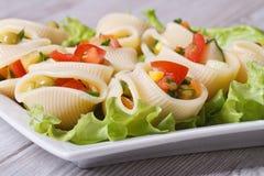 Итальянское lumakoni макаронных изделий заполнило салат крупного плана свежих овощей Стоковое Изображение