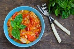 Итальянское peperonata: зажаренный в духовке болгарский перец Стоковые Фотографии RF