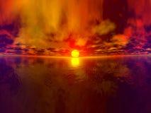 итог захода солнца панорамы иллюстрация вектора