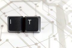 ИТ, 2 клавиши на клавиатуре с письмами i и t на монтажной плате Стоковое Изображение