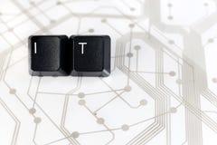 ИТ, 2 клавиши на клавиатуре с письмами i и t на монтажной плате Стоковые Изображения