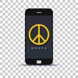 Ищущ применение мира для мобильного телефона наклеенного на бумаге фото стоковые фото