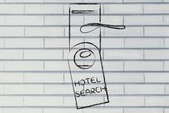 Ищущ для совершенной гостиницы, смешной дизайн вешалки двери Стоковое Изображение