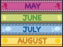 Июль -го июнь -го май августовский Стоковое фото RF