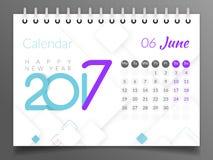 Июнь 2017 Календарь 2017 Стоковое Изображение