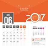 Июнь 2017 Календарь 2017 иллюстрация штока