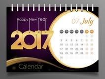 Июль 2017 Календарь 2017 Стоковая Фотография