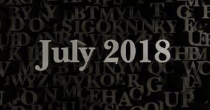 Июль 2018 - 3D представило металлическую typeset иллюстрацию заголовка иллюстрация вектора
