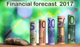 5, 10, 20, 50 и 100 евро свернуло bankn счетов Стоковые Изображения RF