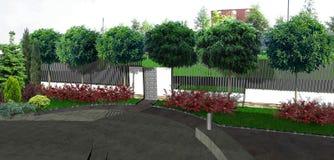 Идеи дизайна двора перед входом, 3d представляют Стоковая Фотография