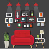 Идеи мебели живущей комнаты Стоковое Фото
