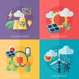 идеи проекта дружественной к Эко энергии плоские, знамена иллюстрация штока