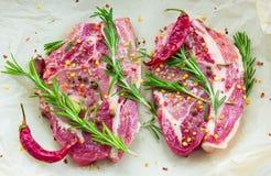 2 идентичных стейка от свинины с специями и розмариновым маслом на бумаге Стоковая Фотография