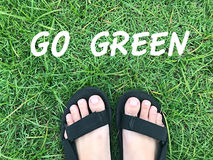 Идет зеленое слово Стоковая Фотография