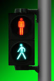 идет светлый пешеходный стоп Стоковое Изображение RF
